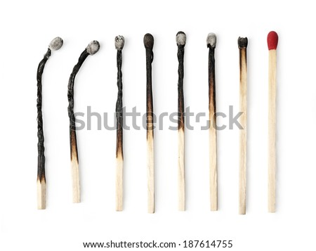 Set of burnt match at different stages isolated on white background. with clipping path - stock photo