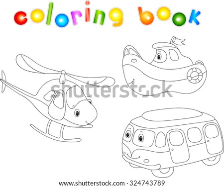 Set of bus, ship and helicopter. Coloring book for children. - stock photo