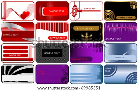 Set of 16 business and gift cards. The similar image in my portfolio in vector format.