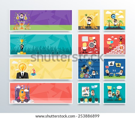 Set of business banners of search for investors, first in business, creative ideas and start up in flat design. Happy businessman. Raster version - stock photo