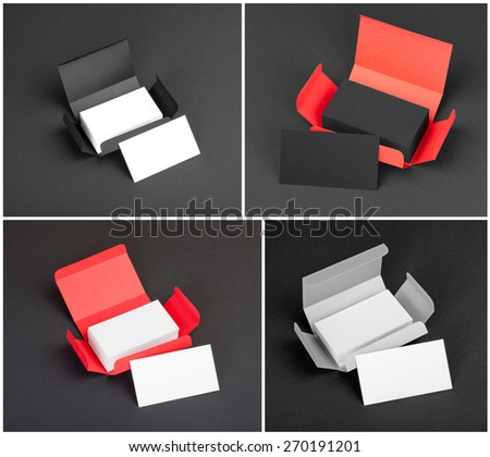 Set of business cards in the boxes - stock photo