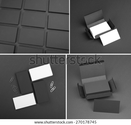 Set of business cards on a black background - stock photo