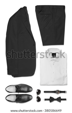 Set of Business Clothes isolated on white background - stock photo