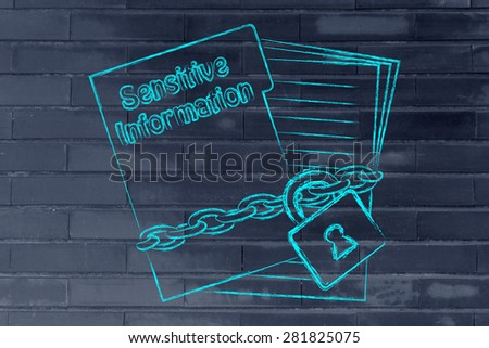 set of business documents with chain and lock, protecting sensitive information