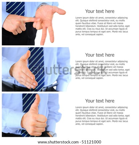 Set of business gesture pictures - stock photo