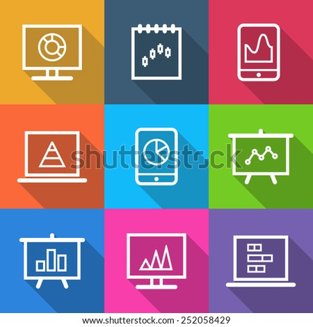 Set of business icons infographic isolated in colorful squares - stock photo