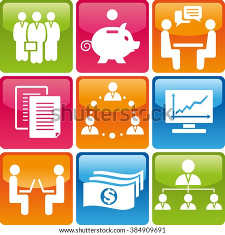 Set of business icons: teamwork, money, communication, conversation, graphic, meeting, leader, documents, moneybox, network. Business icons set. Business icons illustration. Business icons set jpeg - stock photo