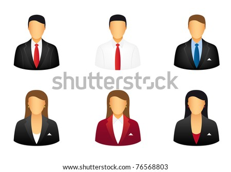 Set of business people icons. Vector available. - stock photo