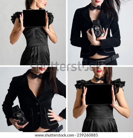 Set of Business woman dressed in black holding and shows touch screen tablet pc with blank screen and old photographic camera closeup - stock photo