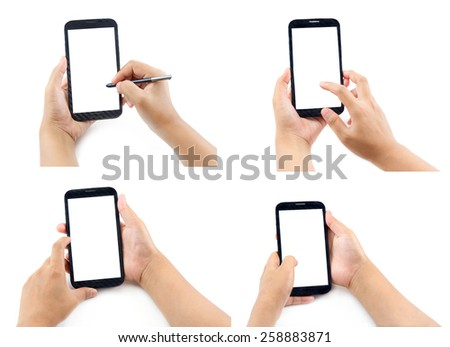 Set of business woman Hand holding and Touch on Black Smartphone with blank screen on white background - stock photo