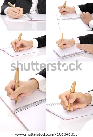Set of business woman writing on the notebook. You can put your message on the paper