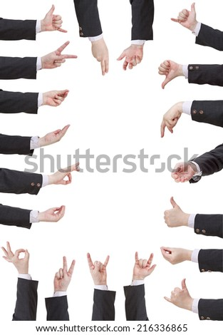 set of businessman hand gesture isolated on white background - stock photo