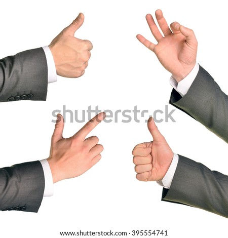 Set of businessman hands - stock photo
