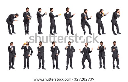 Set of businessman over white background - stock photo