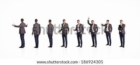 Set of businessman standing in different poses. Isolated on white. - stock photo