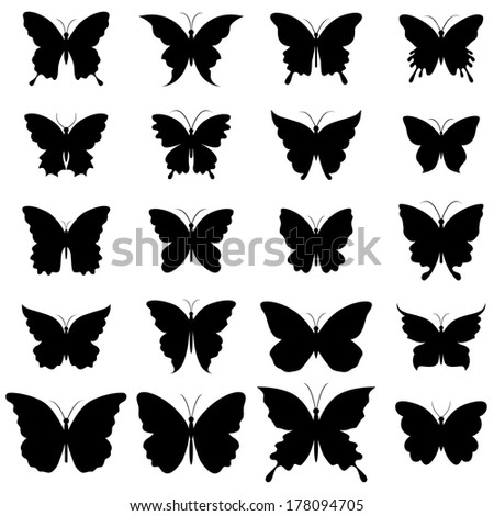 Set of butterflies for design.  Raster. - stock photo
