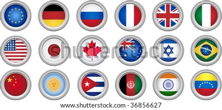 Set of 18 buttons for several countries - stock photo