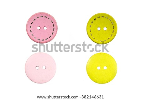 Set of buttons (Pink and yellow) isolated on white background - stock photo