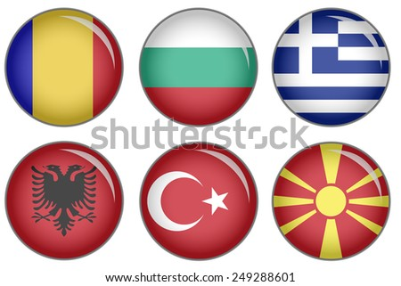 Set of buttons with national flag motive