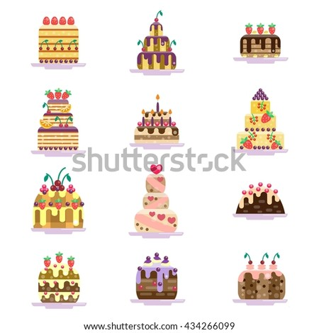 Set of cake icons. Cakes collection. Isolated on white background. Glazed pies with berries, cherry and strawberry. Berry and chocolate pie. Flat illustration