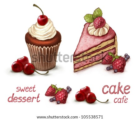 Set of cake illustrations