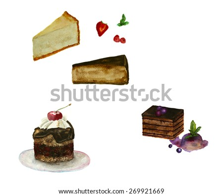 set of cakes, hand-painted watercolor - stock photo