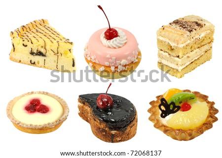 Set of 6 cakes isolated - stock photo