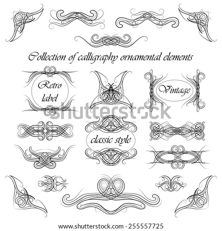 set of calligraphy ornamental elements, illustration