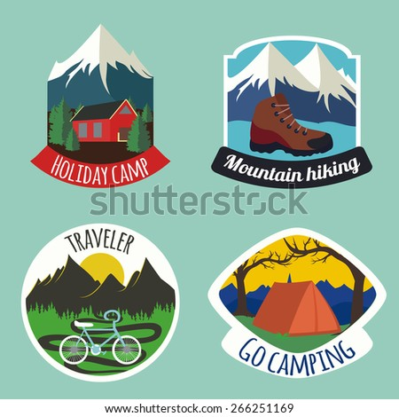 Set of camping emblems and labels with snow mountains, sun, trees, bicycle, camping house and tent. Perfect for logos and stickers - stock photo