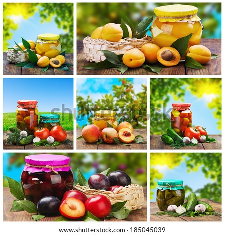 set of canned vegetables and fruits    - stock photo