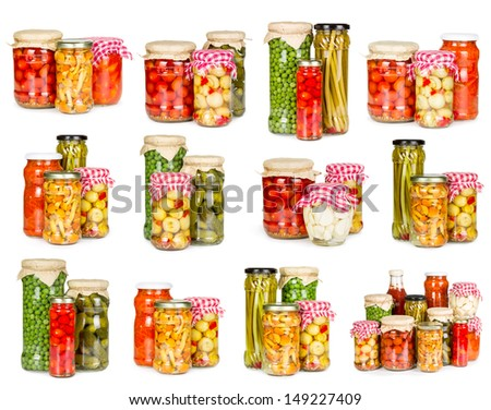 Set of canned vegetables isolated on white background - stock photo