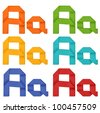 "Set of capital letter and lowercase letter ""A"" in various color. Origami alphabet  letter  on white background. - stock photo"