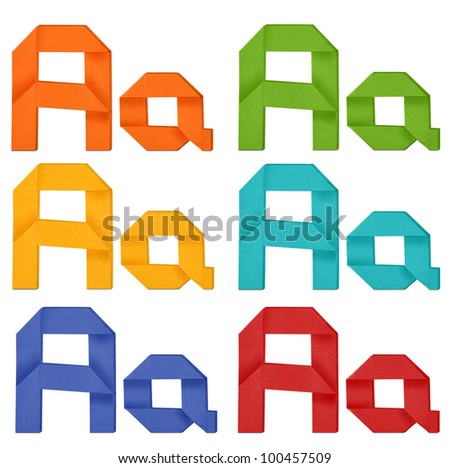 """Set of capital letter and lowercase letter """"A"""" in various color. Origami alphabet  letter  on white background. - stock photo"""