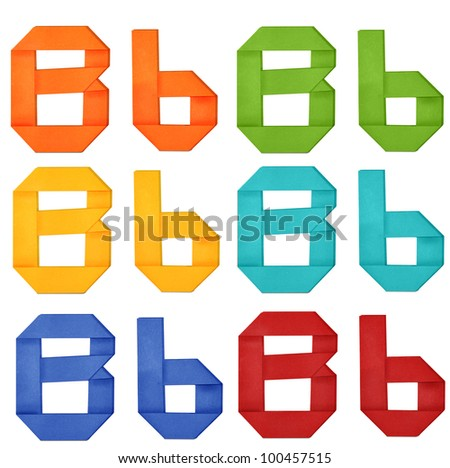 """Set of capital letter and lowercase letter """"B"""" in various color. Origami alphabet  letter  on white background. - stock photo"""