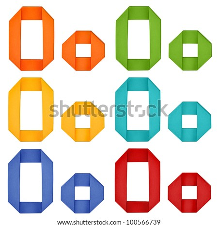 """Set of capital letter and lowercase letter """"O"""" in various color. Origami alphabet  letter  on white background. - stock photo"""