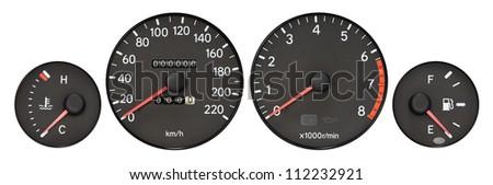 set of car gauge ( radiator temperature meter, speedometer, Tachometer,  fuel meter ) - stock photo
