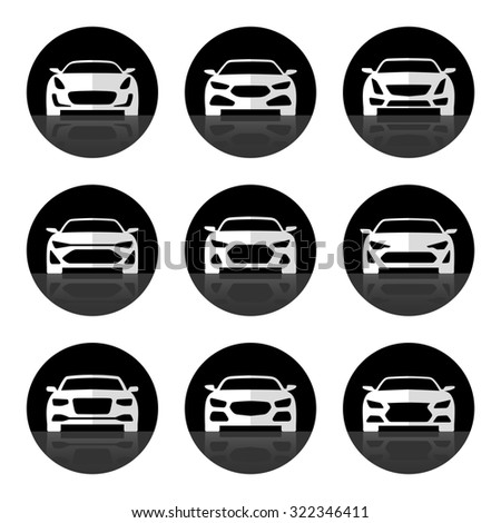 Set of car icons. Front view of sports and luxury cars. Rasterized copy - stock photo
