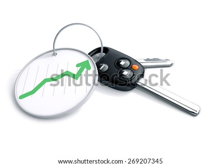 Set of car keys with key ring and graph showing growth in vehicle sales. Concept for climbing car prices, buyer or selling a vehicles. Automotive stock market performance, shares, stocks and bonds.