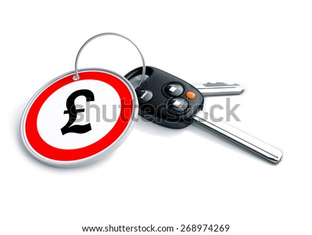 Set of car keys with keyring and British pound currency symbol. Concept for British car prices, buyer or selling a vehicle in the United Kingdom.  - stock photo