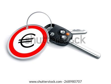 Set Car Keys Keyring Euro Currency Stock Illustration 268980707