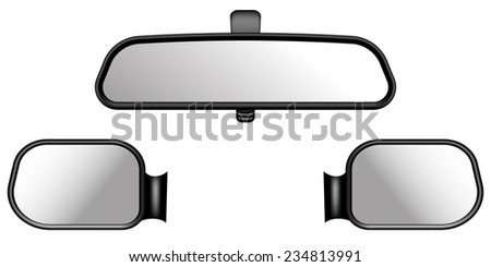 set of car mirrors. on white background
