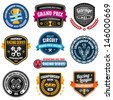 Set of car racing emblems and championship badges - stock vector