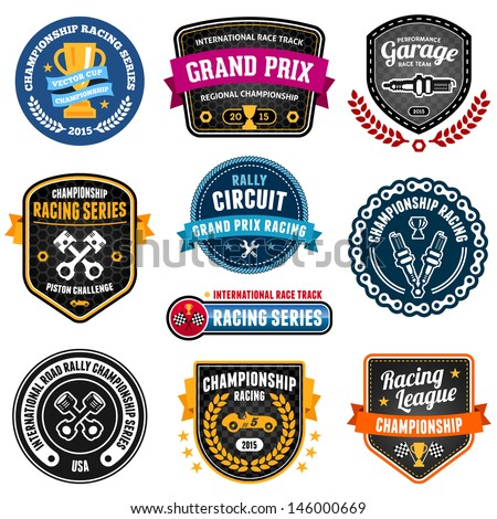 Set of car racing emblems and championship badges - stock photo