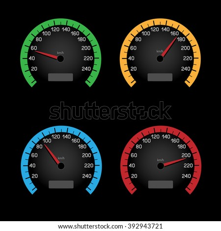 Set of car speeding limit panels isolated on black background. Speedometer shows the speed limit - stock photo