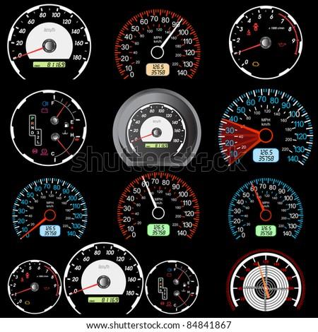 Set of car speedometers for racing design. - stock photo