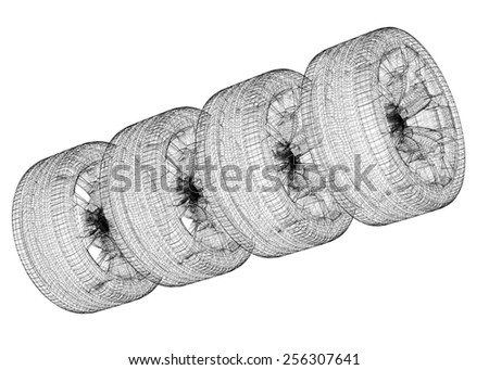Set of car wheels isolated, body structure, wire model