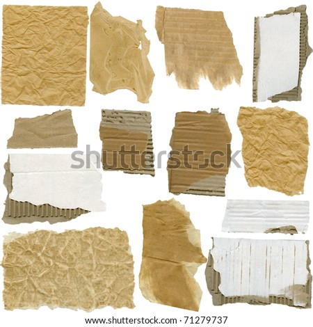 Set of Cardboard And Paper pieces, isolated on white - stock photo