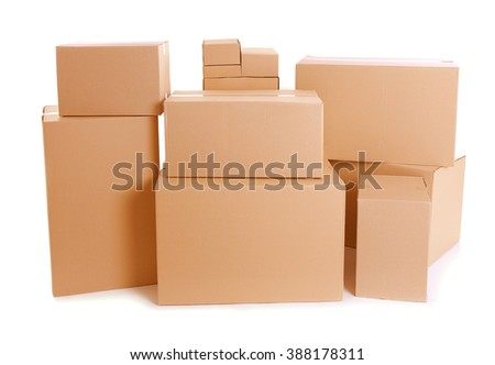Set of cardboard boxes isolated on white - stock photo