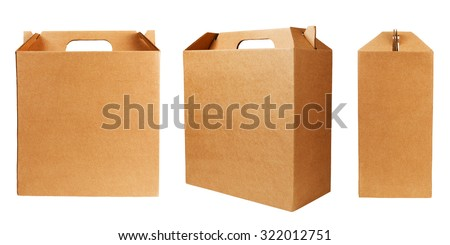 Set of cardboard boxes with handle isolated on white background.  - stock photo