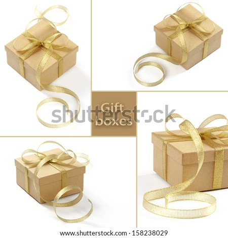 Set of cardboard gift boxes with gold ribbon. - stock photo